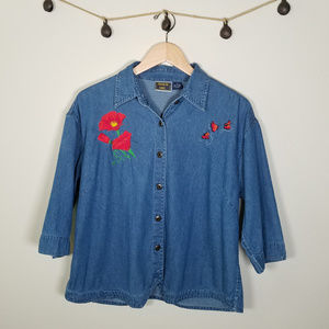 Denim Chambray Embroidered Flowers Butterfly Shirt